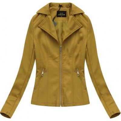 Dámska koženková bunda žltá (5324)