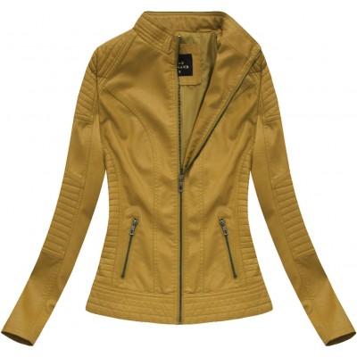 Dámska koženková bunda horčicová 5375
