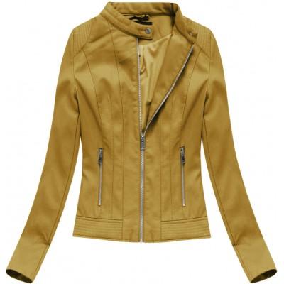 Dámska koženková bunda horčicová (5373)