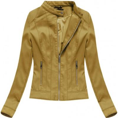 Dámska koženková bunda horčicová (5373BIG)