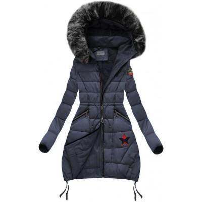 Dámska zimná bunda s kapucňou tmavomodrá (B3595) f2ab3b59bea