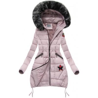 Dámska zimná bunda s kapucňou púdrovo ružová (B3595) fa12192e2d5