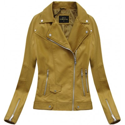 Dámska koženková bunda horčicová (5327)