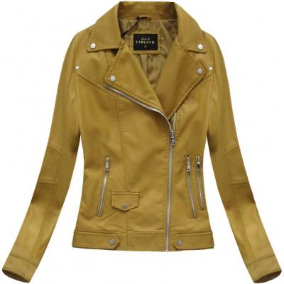 Dámska koženková bunda horčicová (5327BIG)