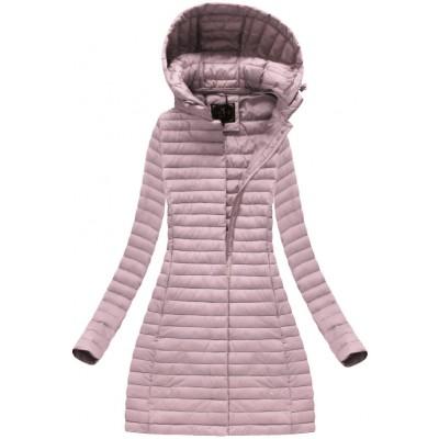 Dámska dlhá prechodná bunda staro-ružová (7222)