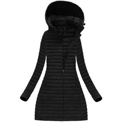 Dámska dlhá prechodná bunda čierna (7222)