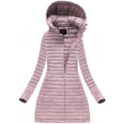 Dámska dlhá prechodná bunda staro-ružová (7222BIG)