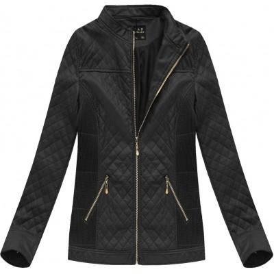 Dámska koženková bunda čierna (5037BIG)